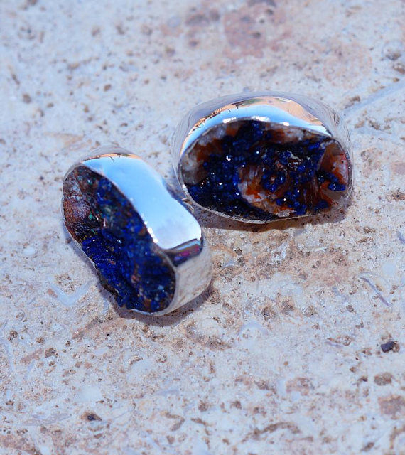 Stunning Genuine Azurite Druzy set in Solid 925 Sterling Silver Earrings