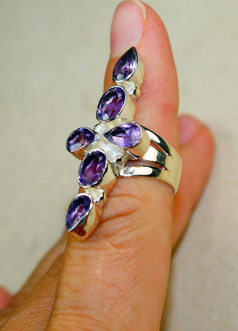 Beautiful Amethyst & 925 Sterling Silver Ring size 7,8
