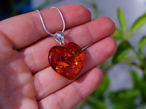 "Cognac Baltic Amber Heart set in 925 Sterling Silver Pendant with and 16"" Snake"