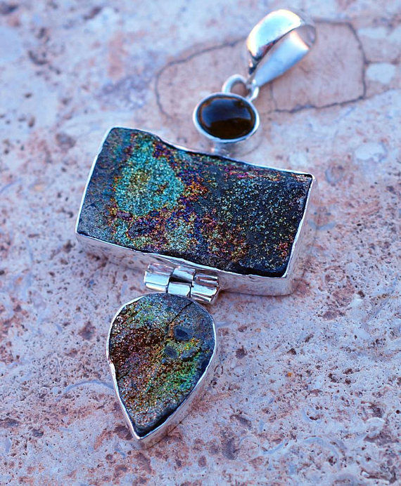 Rainbow Pyrite with Tourmaline set in Solid 925 Sterling Silver Pendant
