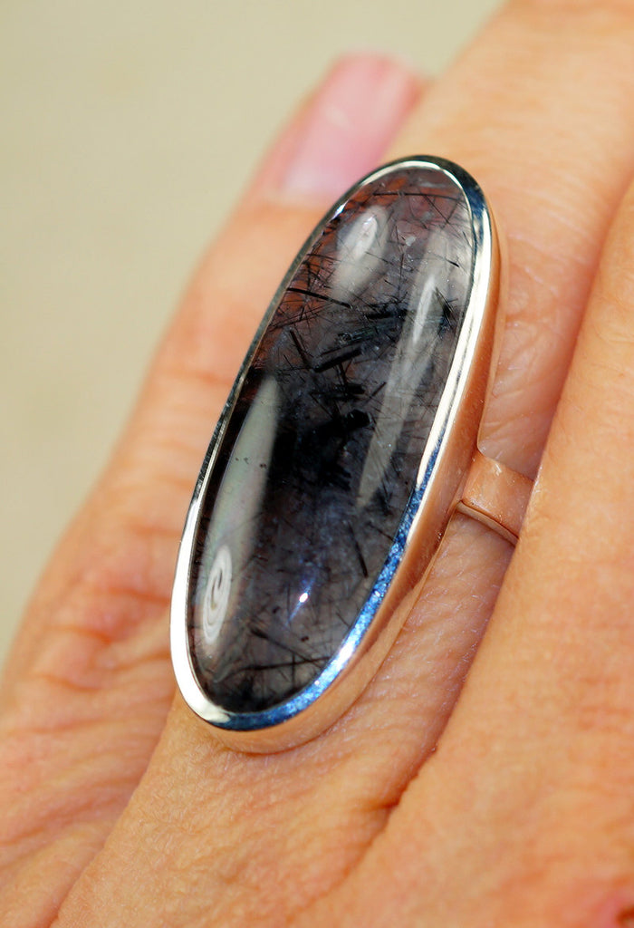 Black Tourmalinated Quartz & 925 Sterling Silver Ring size 7
