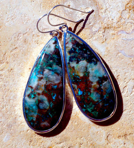 Wonderful Chrysocolla set in Solid 925 Sterling Silver Earrings