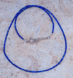 Diamond Cut Single Strand Lapis Lazuli Beads & 925 Sterling Silver Necklace