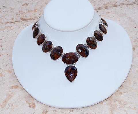 Amazing All Natural Faceted Russian Pietersite & 925 Sterling Silver Necklace