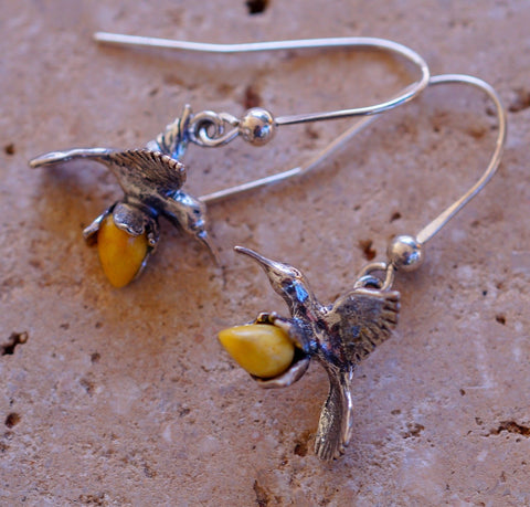 Butterscotch Baltic Amber Hummingbird & Solid 925 Sterling Silver Earrings