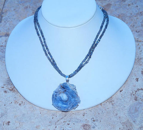 Desert Rose Druzy with Labradorite Beaded Necklace 925 Sterling Silver Necklace