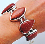 Amazing Genuine Goldstone set in Solid 925 Sterling Silver Bracelet