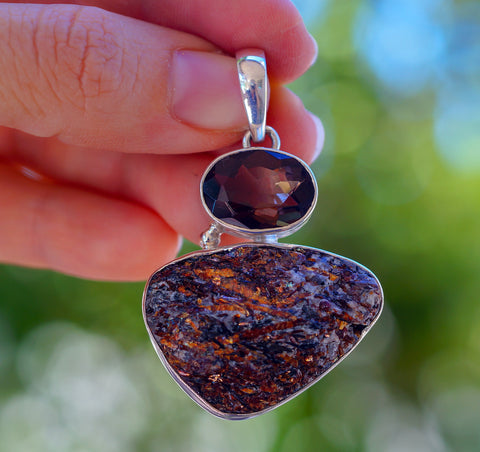 Amazing Astrophyllite with Smokey Topaz set in Solid 925 Sterling Silver Pendant