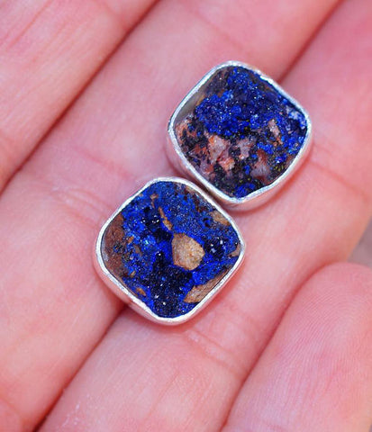 Azurite Druzy & 925 Sterling Silver Earrings