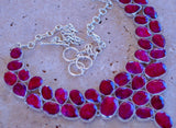 Beautiful Kashmir Ruby set in Solid 925 Sterling Silver Necklace