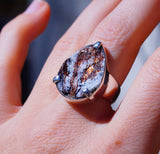 Genuine Russian Astrophyllite set in Wide Band 925 Sterling Silver Ring size 7