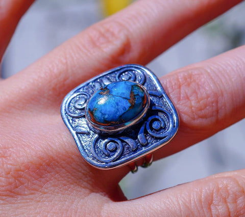 Bohemian Style Blue Mojave Turquoise & Solid 925 Sterling Silver Ring size 7