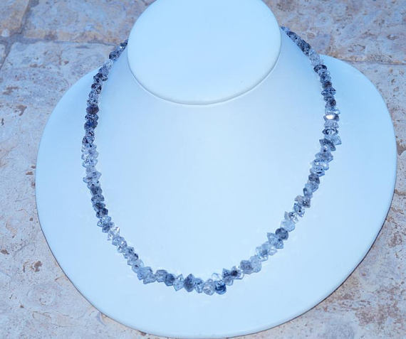 Amazing All Natural Harkimar Diamond Set in 925 Solid Sterling Silver Necklace