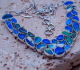 Genuine Azurite Diopside set in Solid 925 Sterling Silver Necklace