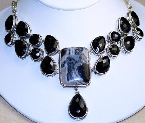 Faceted Black Onyx with Black Tourmaline in Quartz 925 Sterling Silver Necklace