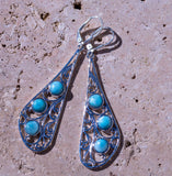 Fancy Genuine Dominican Larimar set in Solid 925 Sterling Silver Earrings