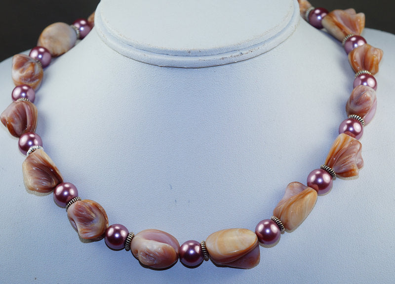 Amazing Blister Pearl with River Pearl & 925 Sterling Silver Necklace