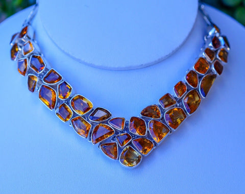 Beautiful Genuine Honey Topaz set in Solid 925 Sterling Silver Necklace