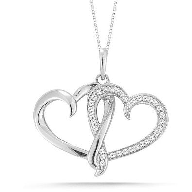 Twin Heart Pendant Necklace - Victoria Vault