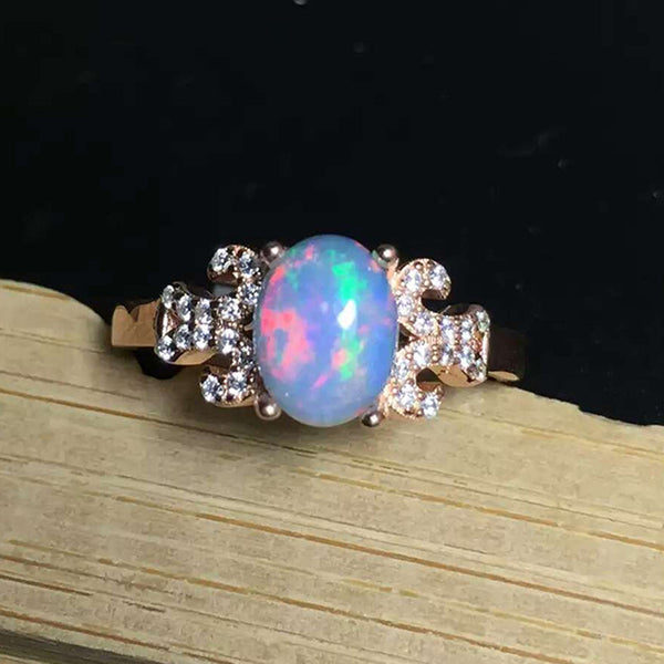 100% Genuine Blue Fire opal solid S925 sterling sliver platinum plated ring