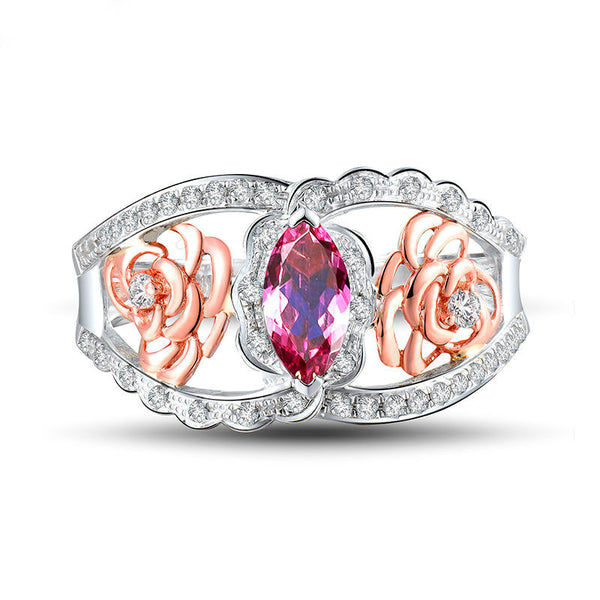 Marquise Natural Pink Tourmaline 18K Two Tone Gold with Genuine  Diamonds