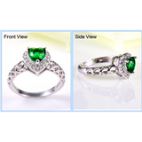 Alluring wedding engagement ring heart green emerald white CZ diamond 18k white gold plated ring - Victoria Vault
