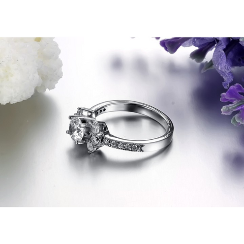 Classic  White Crystal Engagement Ring