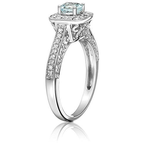 Awesome Light Aquamarine Genuine Diamond Ring just for you