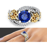 Lovely Ornate Blue Sapphire Crystal Flower Pave Ring - Victoria Vault