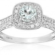 Awesome Light Aquamarine Genuine Diamond Ring just for you - Victoria Vault
