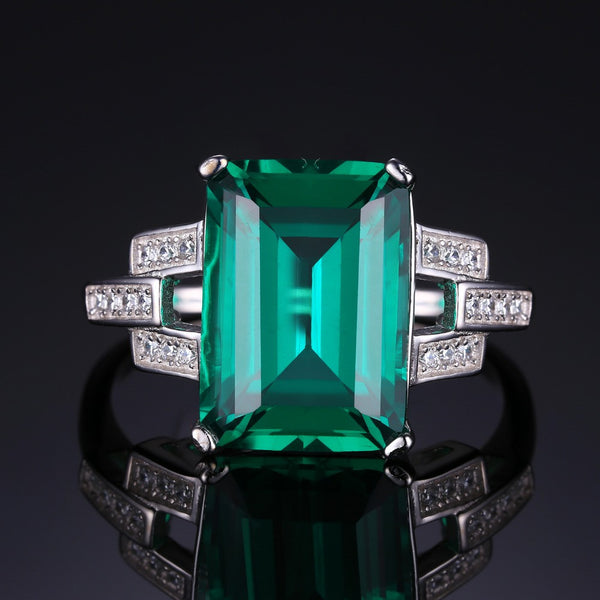 Emerald Green / White Crystal Ring - Victoria Vault