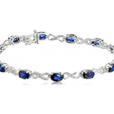 7.41 Blue Sapphire and Diamond Infinity Bracelet