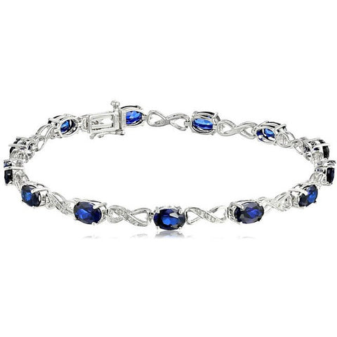 7.41 Blue Sapphire and Diamond Infinity Bracelet - Victoria Vault
