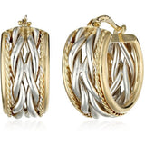 LUXIROUS GENUINE 14k Gold Two-Tone Braid Center with Polished Edge Hoop Earrings - Victoria Vault