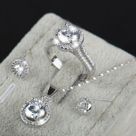 Bridal Jewelry Set - White Crystal Necklace, Earrings, and Ring - Victoria Vault