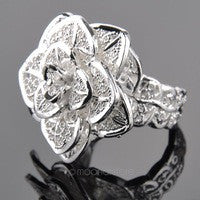 Hollowed-Out Silver Flower Ring - Victoria Vault