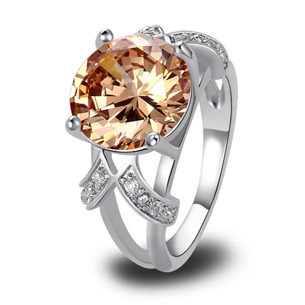 Very Alluring Lab grown Champagne Morganite silver 18K Gold Plated Fashion Ring - Victoria Vault