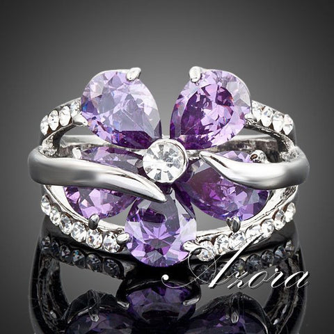 Austrian Purple Flower Crystal  Ring - Victoria Vault
