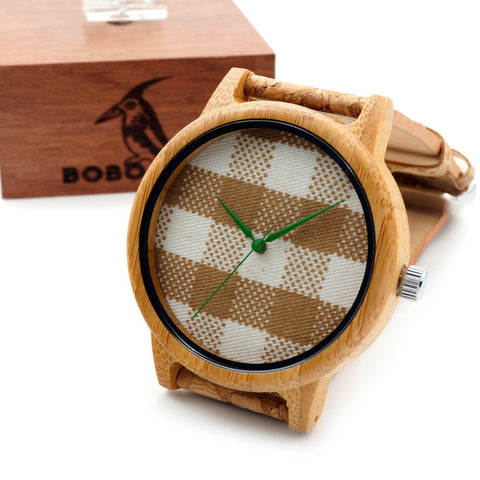 Bamboo Wood Quartz Watch With Fabric Dial