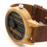 Bamboo Wood Quartz Watch With Leather Straps