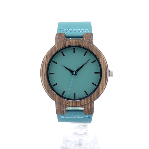 Blue Face Wooden Bamboo Watch
