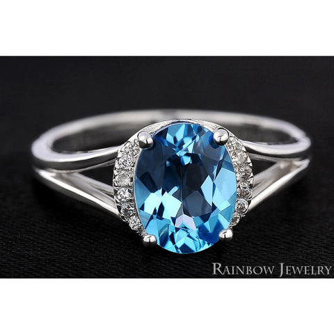 Brilliant Blue Topaz Vintage  Ring - Victoria Vault