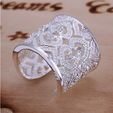 Silver Hollowed-Out Hearts Inlay Ring