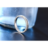 Stunning Titanium Steel with Clear Austrian Crystals Eternity Ring - Victoria Vault