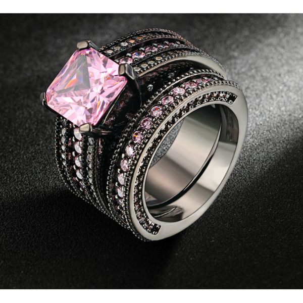 Pink Crystal Ring Set - Victoria Vault