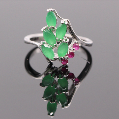Green Emerald / Pink Ruby Silver Ring