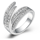 Adorable Austrian Crystal Engagement / Wedding Ring - Victoria Vault
