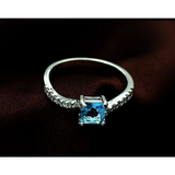 Elegant 10KT White Gold 1.2CT Princess Cut Ocean Blue Sapphire with ornate inlay white sapphire - Victoria Vault