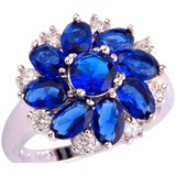 Mesmerizing AAA CZ Lab  Sapphire Quartz 18K White Gold Plated Silver Ring - Victoria Vault