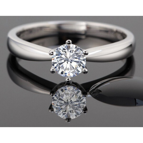 Classic White Crystal Solitaire Engagement Ring - Victoria Vault